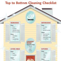 Use iMOM's Top to Bottom Cleaning Checklist to make your housekeeping easier as you clear, and clean each room.