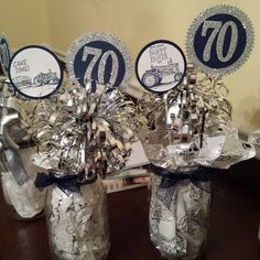 2016 Created by Dori Thompson Schneider using the SS Number Of Years Photopolymer Bundle140811 Price: $49.25 ,    I love the Number of Years bundle. I made these table decorations for my Dad's surprise 70th birthday party tomorrow.