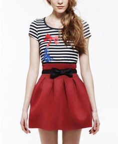Red Full Pleated Skirt