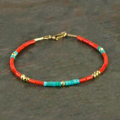 Genuine Red Coral and Blue Turquoise Heishi Bracelet with Gold Fill, Handmade Real Coral Gemstone Bracelet, Multicolored Slim Bracelet This handmade gemstone heishi bracelet features beautiful genuine bright red coral beads (small tubes or wide heishi) Diy Jewelry, Gemstone Jewelry, Beaded Jewelry, Jewelery, Jewelry Bracelets, Handmade Jewelry, Women Jewelry, Jewelry Making, Beaded Anklets