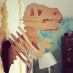 Wooden Dinosaur Head Mount by Smelly Smelly Elly