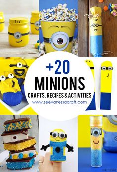Minions Crafts, Recipes and Activities Minion Gifts, Minion Craft, Minion Birthday, Minion Party, Diy Arts And Crafts, Cute Crafts, Kid Crafts, Craft Projects, Craft Ideas
