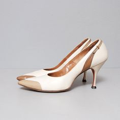 1950s Heels  Cream and Color Block Brown by OldFaithfulVintage, $38.00