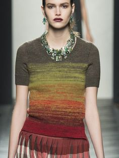 Ombré color into taupe. I am actually knitting something like this and will post when done. Mine shows WS as RS.