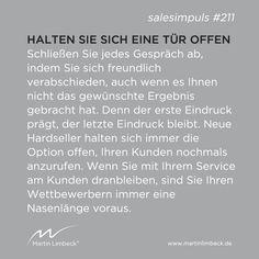 #salesimpuls #211 - Halten Sie sich am Ende jedes Verkaufsgespräches mindestens eine Tür offen. www.martinlimbeck.de