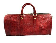 Image of Lavish Goods Red Gator Leather Duffle Bag