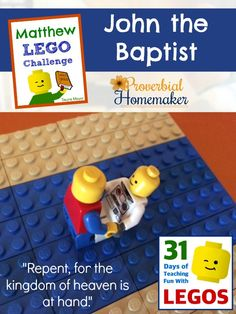 Build through the Bible with the Matthew Lego Challenge: John the Baptist baptizing Jesus Bible School Crafts, Bible Crafts, Kids Crafts, Sunday School Curriculum, Sunday School Activities, Bible Lessons, Object Lessons, Matthew Bible, Used Legos