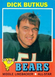 1971 Topps Dick Butkus Chicago Bears Football Card for sale online Nfl Football Players, Bears Football, Football Boys, Football Memorabilia, Football Stuff, College Football, New Nfl Helmets, Football Helmets, Football Trading Cards