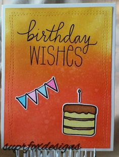 Birthday Wishes -MFT Birthday Wishes & Balloons clear stamps, The Greeting Farm clear stamps & dies, Avery Elle Wonky Stitches Die, TH Distress ink in ripe persimmon & fossilized amber