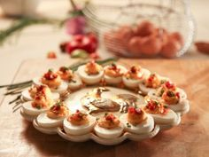 Pimento Cheese Deviled Eggs with Crispy Pancetta : Recipes : Cooking Channel