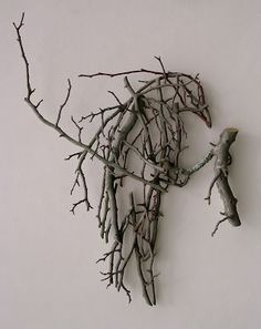 """Crows Ravens, """"Crows in the Hawthorne,"""" by Ron Isaacs, painted birch plywood construction. Twig Crafts, Driftwood Crafts, Nature Crafts, Crow Art, Raven Art, Bird Art, Twig Art, Deco Nature, Art Nature"""