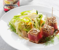Pavé de thon mariné au sésame doré sauce soja sucrée Kikkoman - Recettes, Cuisine