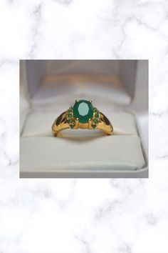 3.64ct NATURAL INDIAN EMERALD COCKTAIL GYPSY DINNER 14K YELLOW GOLD SILVER RING Fantasy Jewelry, Gypsy, Emerald, Silver Rings, Stone, Yellow, Gold, Cocktail, Indian