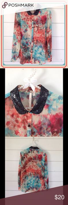 💓💓Nordstrom Bellatrix Sheer Blouse💓💓 Nordstrom Sheer Blouse with Black Sequined Collar.  Blouse is not too sheer.  Can barely see tank top underneath.  Small pocket on front.  Colors are gorgeous. Excellent Condition. Tops Blouses