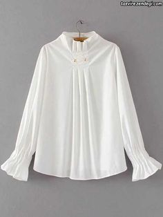 Flare Sleeve Draped Pullover Blouse - White SWhite Pleated Detail Dip Hem Blouse — € --------------------color: White size: M,SBlouses For Women SHEIN offers Tops & more to fit your fashionable needs. Kurta Designs, Blouse Designs, Cute Blouses, Blouses For Women, Hijab Stile, Blouse Styles, Designer Dresses, Fashion Dresses, Fashion Design