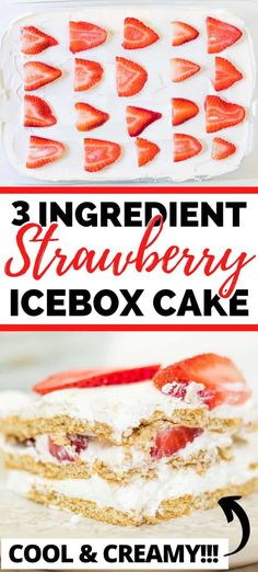 A cool and creamy no-bake strawberry icebox cake recipe that is easy to make with 3 ingredients and perfect for your summer parties and barbecues. #Strawberry #IceboxCake #SummerDesserts #NoBakeCakes #EasyDesserts #StrawberryRecipes #StrawberryShortcake Easy Summer Desserts, Summer Dessert Recipes, Delicious Desserts, Strawberry Icebox Cake, Strawberry Desserts, Icebox Cake Recipes, Baking Recipes, Easy Recipes, No Bake Cake