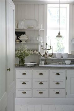 ~ this is the kitchen that inspired me when designing ours ~ I love the script on the drawers