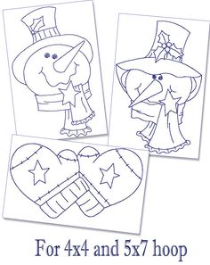 Redwork Embroidery Designs To Download | Redwork Snowmen and Mittens Machine Embroidery Patterns - 4x4 and 5x7 ...