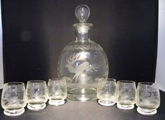 ANTIQUE ENGRAVED LIQUEUR DECANTER SET RUNNING STAG DEER FOX IBEX HARE MUNTJACK