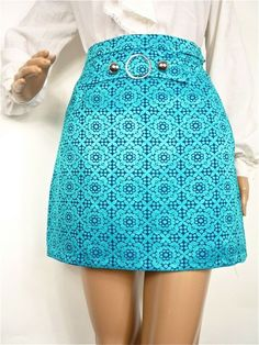 HUZZAR DESIGN  Cute 60s mod Jaquard Mini skirt with round buckle by HuzzarHuzzar, £32.00