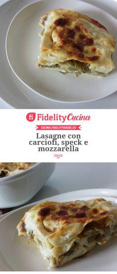 Lasagne con carciofi, speck e mozzarella Crepes, Gnocchi, Mozzarella, Lasagna, Cauliflower, French Toast, Vegetables, Breakfast, Anna