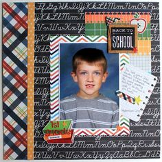 "While school photos are never ""amazing"" you can still make a pretty cute layout from them (supplies found at awdml.com)."