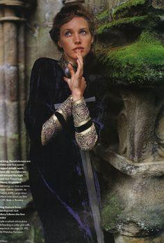 Beautiful Jewelry inspired dressing / Blue Velvet / Oriental Silver embroidery / Mario Testino - Vogue UK December 1993 /