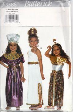Butterick 3586 Girls Cleopatra Walk Like An Egyptian Costume Sewing Pattern Childrens Sizes 4-14 Out of Print UNCUT    Girls Walk Like an