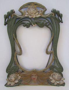 """Antique Art Nouveau Cast Iron&Painted Picture/Photo/Mirror Frame 12.5"""""""
