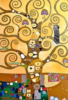 Художник - Густав Климт - «Стоклед фриз. Древо. (фрагмент)» (Модерн, Аллегорическая сцена): Описание картины