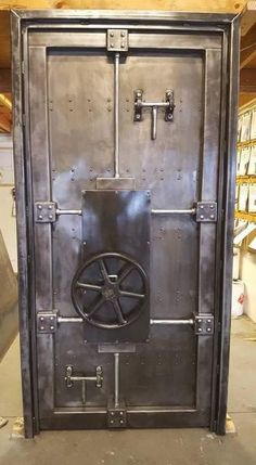 Price shown is for the industrial vault door pictured which is a standard door x 80 with a 2 jamb. It does operate by turning the wheel to latch/unlatch the door. We can make this vault door nearly any size or shape to suit your style or project. Industrial Design Furniture, Vintage Industrial Furniture, Industrial Interiors, Vintage Home Decor, Rustic Furniture, Furniture Design, Steampunk Furniture, Furniture Ideas, Steampunk Interior