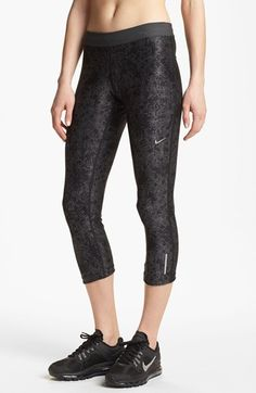 Nike 'Relay' Print Capri Pants Technical Dri-FIT capris are designed for nonbinding compression fit that helps muscles warm up and recover more quickly.