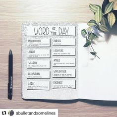 "1,747 Likes, 10 Comments - Bullet Journal Inspire  (@bujoinspire) on Instagram: ""#Repost @abulletandsomelines (@get_repost) ・・・ This month's 'Word of the Day', half way done. I…"""