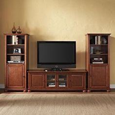Nebraska Furniture Mart – Crosley Furniture 60'' Alexandria Low Profile TV Stand and Two 60'' Audio Piers in Cherry