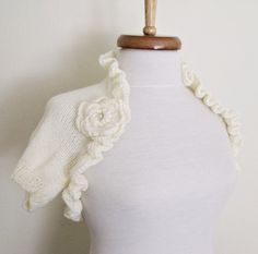 Ivory BRIDAL Shrug With Flowers Brooch Ready for by knittingshop
