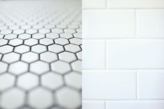 Hex. tile with dark grout paired with white subway tile white grout
