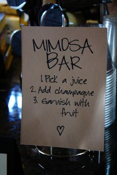 Love this idea. Good for welcome drinks. Although... Our friends are... Rockstars. They may well crawl into the chapel :D  Self-serve Mimosa Bar (or any cocktail drink works!) so your guests can add as much or as little as they want!