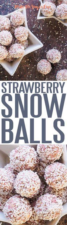 Super strawberry snowballs, sugar free and full of goodness. Breakfast Bites, Sugar Detox, Snowball, Healthy Treats, Eating Well, Strawberries, Sugar Free, Balls, Seeds