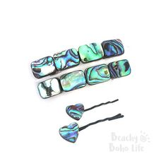 Hair Barrettes | Abalone Barrette | Hair Clip | Hair Accessories | Bridal Hair Accessories | Wedding Barrette | French Barrette | Product ID# SLS015 1 PAIR of gorgeous Paua Abalone French Hair Barrettes. ❀❀❀❀❀❀❀☼☼☼ ❀❀❀ ☼☼☼ 웃웃 ☩ 웃웃 ☼☼☼ ❀❀❀ ☼☼☼❀❀❀❀❀❀❀ Abalone shell barrettes are 2 long