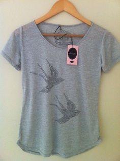 Camiseta estampa pássaros em strass - Lilou Chic Couture
