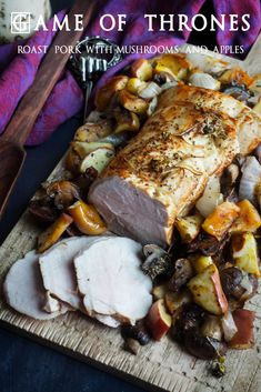 Game of Thrones: Roast Pork with Mushrooms and Apples recipe from the food blog, www.feastofstarlight.com #GameofThrones #Roast #Recipes