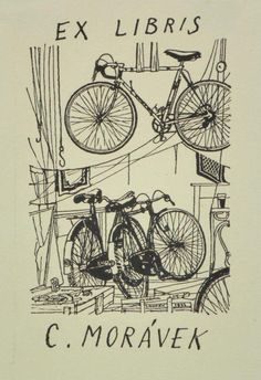 Ex libris Morávek by Kamil Lhoták (Czech, Old Libraries, Compass Tattoo, Printmaking, Plates, Books, Prints, Bicycles, Lust, Suitcase