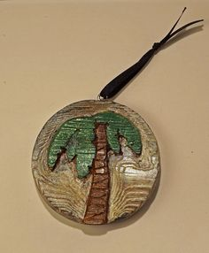 DeTiki Handcarved PALM TREE ORNAMENT Reclaimed Wood Beach Tiki Decor Tropical