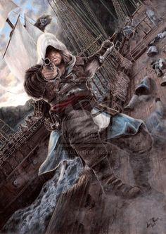 Assassin's Creed - Edward Kenway by AnaNevesArt on DeviantArt The Assassin, Assassins Creed Black Flag, Assassins Creed Series, Assassin's Creed Edward Kenway, Geeks, Connor Kenway, Assassin's Creed Wallpaper, Edwards Kenway, Pirate Life