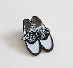 "Saddle Shoes Lapel Pin - 1.25"" soft enamel, gift for her, vintage vibe by TheSilverSpider on Etsy"