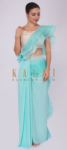 Buy Online from the link below. We ship worldwide (Free Shipping over US$100)  Click Anywhere to Tag Sky-blue-lycra-saree-with-draped-pleats-and-ruffled-organza-pallo-only-on-Kalki Saree Gown, Indian Wear, Blouse Designs, Sarees, Ethnic, Designers, Gowns, Couture, Free Shipping