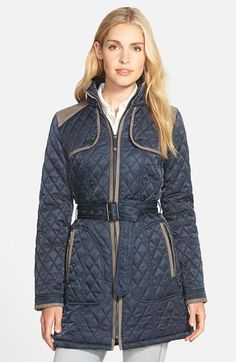 Vince+Camuto+Faux+Suede+Trim+Belted+Quilted+Coat+available+at+#Nordstrom