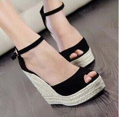 Cheap Para mujer 2015 de los altos talones sandalias verano Women 's Open Toe hebilla de correa plataforma cuñas trenza de paja zapatos de playa, Compro Calidad Sandalias de las mujeres directamente de los surtidores de China: Altura del tacón : 9 cm