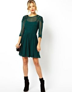 Image 4 ofASOS Skater Dress With Lace Insert Shoulder Detail sale $50.81