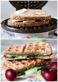 Make grilled cheeses with a waffle iron. Could also work for quesadillas. Going to try a chicken club grilled cheese this way with chicken, bacon, tomato and Swiss cheese.